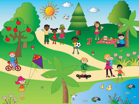 function: illustration of happy people in the park
