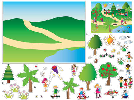 peoples: Game for children: cut and paste the objects and people in the background Stock Photo