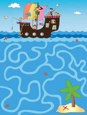 eyepatch: illustration of easy game for children: maze