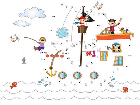 ship storm: Game for children: join the dots Following the numbers. Stock Photo