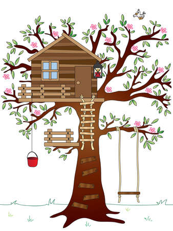 cartoon wood bucket: tree house with swing