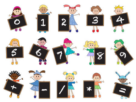 1 2 month: children with numbers on blackboard.