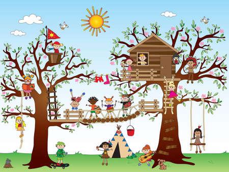 door swings: tree house with happy children