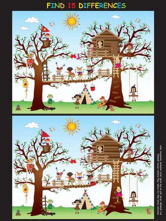 door swings: Game for children : find fifteen differences