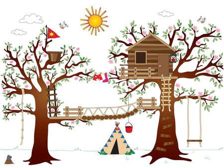 door swings: tree house with swing