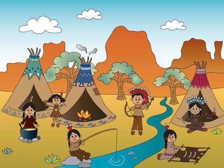 brandweer cartoon: Amerikaanse Indische dorp Stockfoto