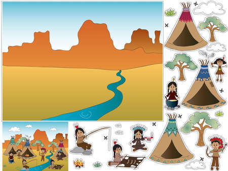 teepee: Game for children: cut and paste Stock Photo