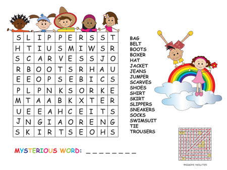 difficult to find: Illustration with game for children: crossword