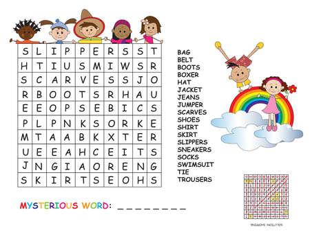 Illustration with game for children: crossword