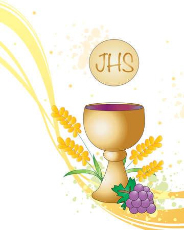 eucharistie: Illustration symbolique pour la première communion. Banque d'images