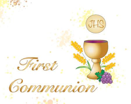 comunion: Ilustraci�n simb�lica para la primera comuni�n.