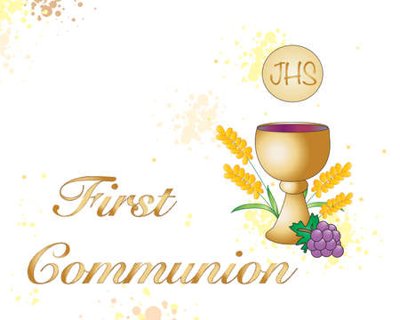 holy eucharist: Symbolic illustration for the first communion. Stock Photo