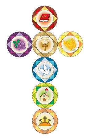first communion: cross with religion icons. Stock Photo