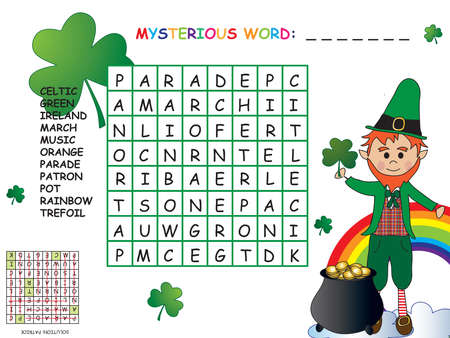 saint patrick s day: Game for children: crossword Stock Photo