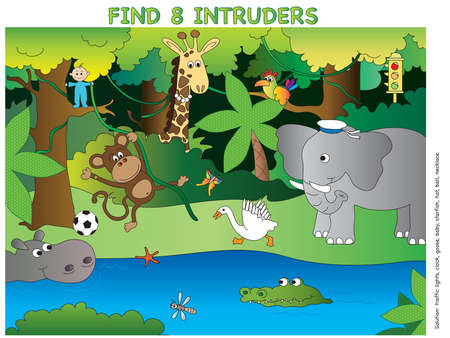 natures: game for children: find eight intruders Stock Photo