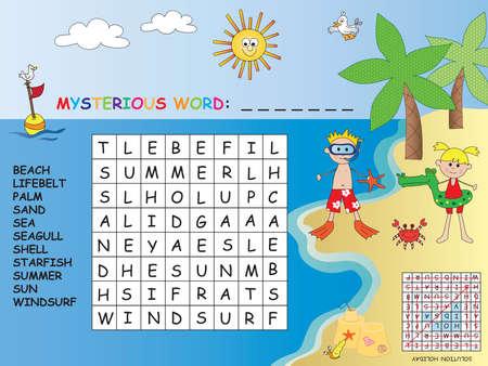 windsurf: game for children: crossword