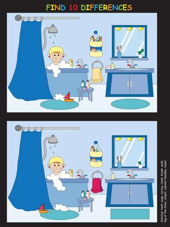 aseo personal: juego para los niños: encontrar diez diferencias