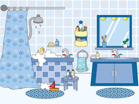 aseo personal: cuarto de baño con bañera y lavabo