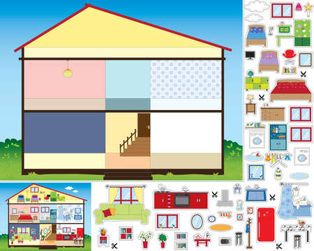 laundry room: Game for children: cut and paste. Stock Photo