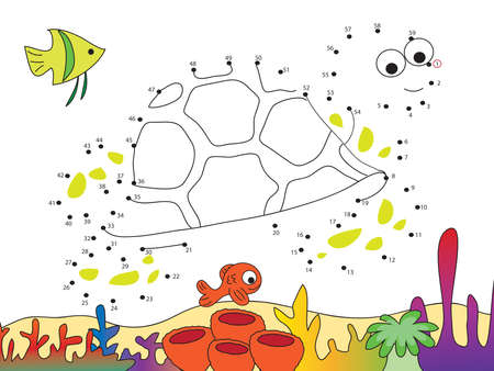 toy fish: Game for children: join the dots Following the numbers. Stock Photo
