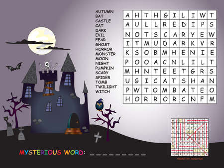 game for children for halloween: find all words horizontal, vertical and diagonal. Use the remaining letters to find the mystery word Stock Photo
