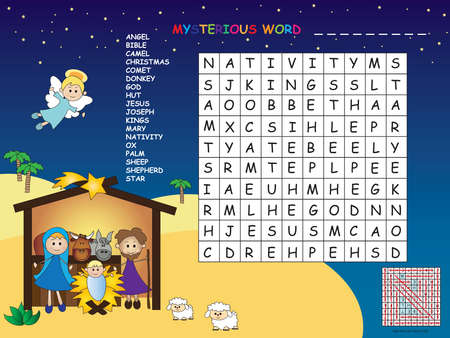 game for children: find all words horizontal, vertical and diagonal. Use the remaining letters to find the mystery word