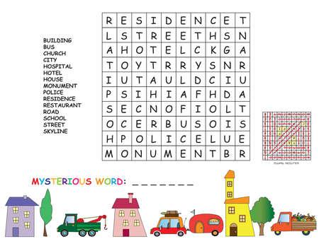 educativo: juego para los niños: encontrar todas las palabras horizontal, vertical y diagonal. Use las letras restantes de encontrar la palabra misteriosa