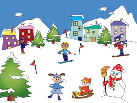 snow landscape: winter landscape with happy children
