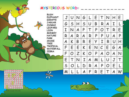 exact: game for children: find all words horizontal, vertical and diagonal. Use the remaining letters to find the mystery word