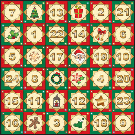 advent calendar: Illustration for advent calendar with funny icons. Stock Photo