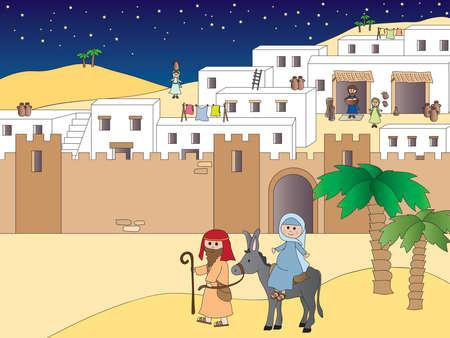 Illustration of Mary and Joseph travelling to Bethlehem