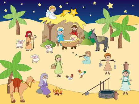 historias biblicas: ilustración de la natividad de Jesús en Belén