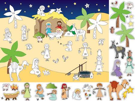 nacimiento: ilustración de calendario de adviento con natividad Foto de archivo