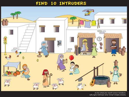 toy story: Game for children: find ten intruders Stock Photo