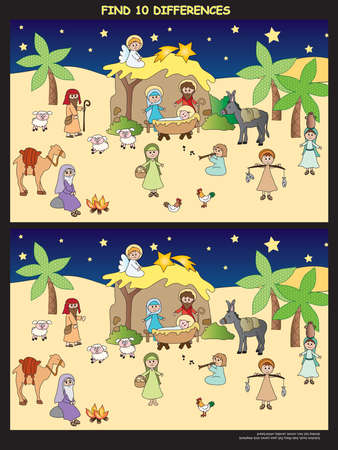 historias biblicas: Juego para los niños: encontrar diez diferencias