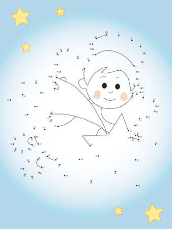 joining the dots: Game for children : join the dots following the numbers. Stock Photo