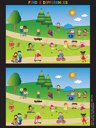 skateboard park: game for children: find eight differences Stock Photo