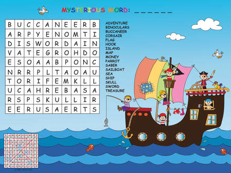 word game: Game for children : find all words (horizontal, vertical and diagonal). Use the remaining letters to find the mystery word. Stock Photo