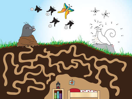 animal den: three game for children: find the right way for the mole, find the right shade of the butterfly, discover the animal by connecting the dots.