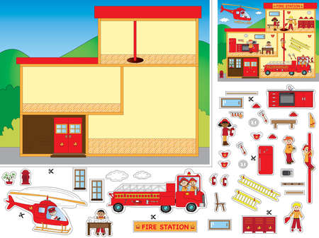 firetruck: game for children: cut and paste