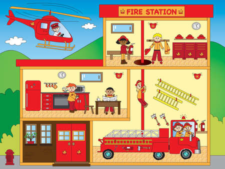 building fire: illustration of interior of fire station Stock Photo