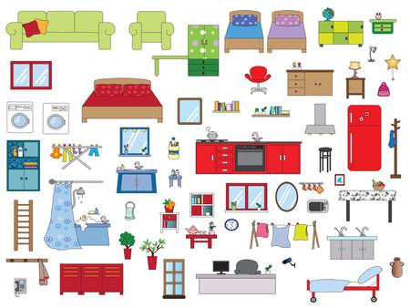 furnishing: Illustration of interior furnishing home Stock Photo