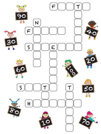 crossword: game for children: crossword with numbers from ten to hundred