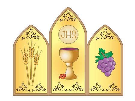 eucharistie: Illustration pour la première communion avec calice. Banque d'images