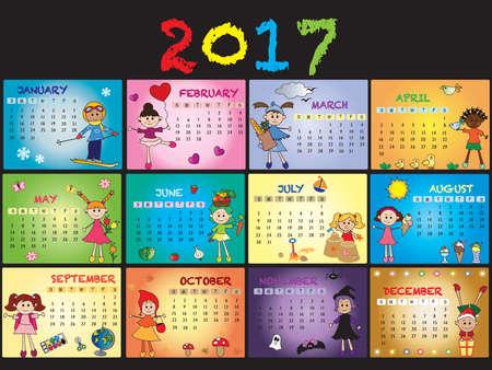 A 2017 annual calendar template.