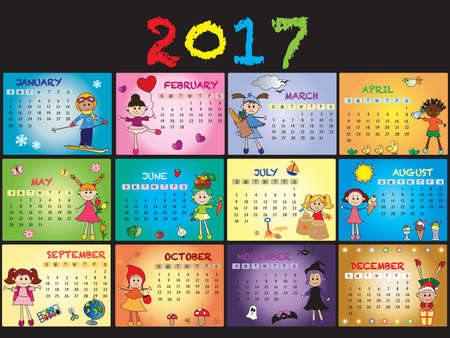 meses del año: Una plantilla de calendario anual de 2017.
