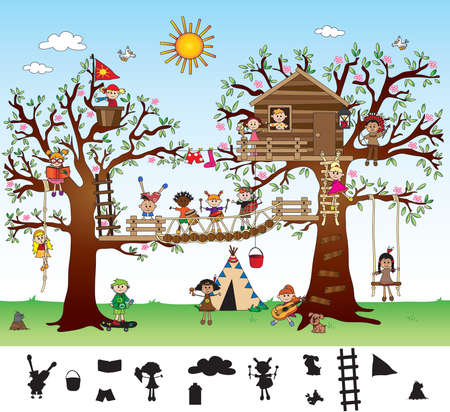 Game for children: find the shade. Stock Photo