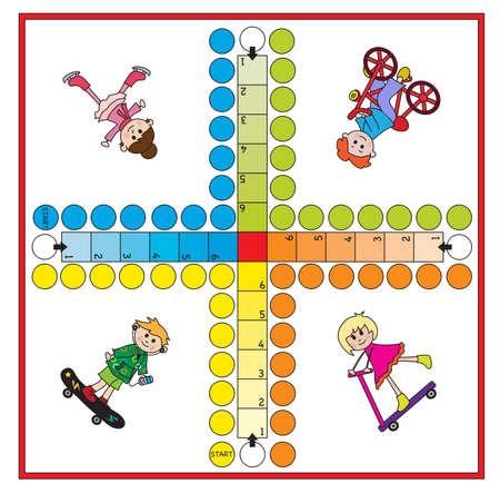 ludo: Board game for children - each player has four pieces.