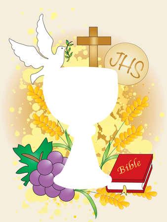 Symbolische illustratie voor de eerste communie. Stockfoto