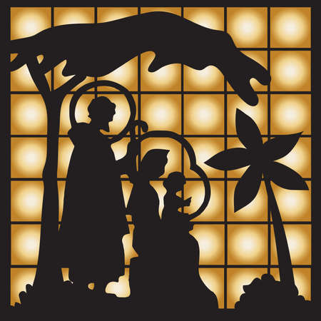 testament: Nativity scene with Jesus, Mary, Joseph silhouette.